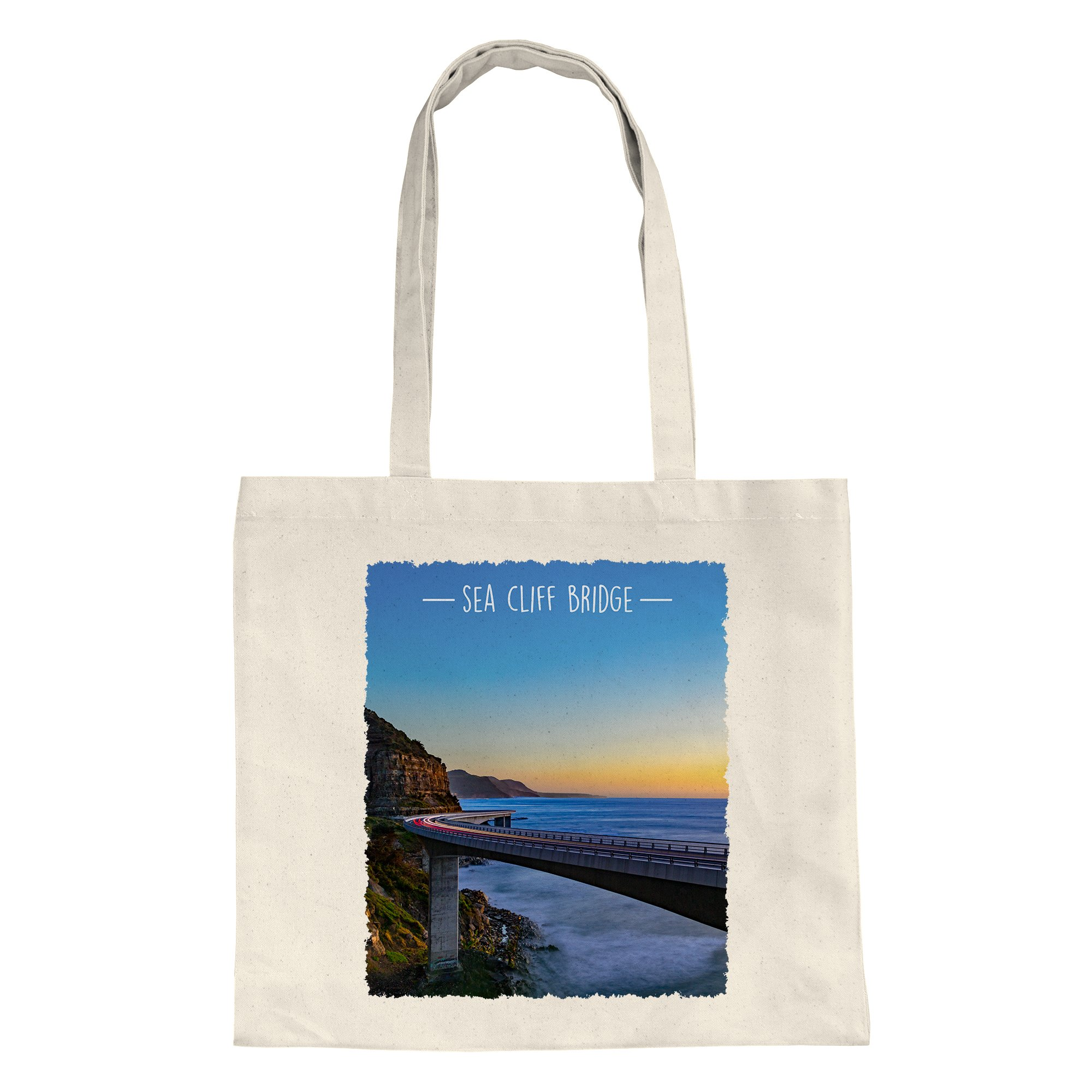 tote-shopping-bag-sunrise-sea-cliff-bridge